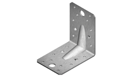 Angle bracket, re-enforced equilateral with fixing holes, A2 (stainless steel)