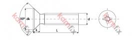 Kamfix CSK head bolt, DIN 965