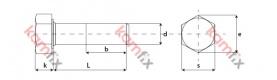 Kamfix hexagon head partial thread screw, DIN 931